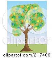 Royalty Free RF Clipart Illustration Of A Tree With Green Foliage And Colorful Spring Blossoms In A Park by mheld