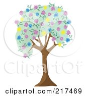 Royalty Free RF Clipart Illustration Of A Tree With Green Foliage And Colorful Spring Blossoms by mheld