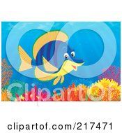 Royalty Free RF Clipart Illustration Of A Striped Blue And Orange Tropical Fish Swimming Over A Coral Reef