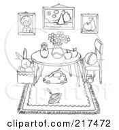 Royalty Free RF Clipart Illustration Of A Coloring Page Outline Of A Play Room Interior With Toys