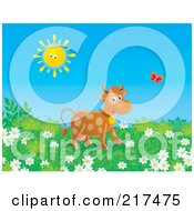 Royalty Free RF Clipart Illustration Of A Happy Cow Following A Butterfly In A Field Of Wildflowers by Alex Bannykh