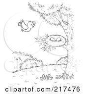 Royalty Free RF Clipart Illustration Of A Coloring Page Outline Of A Bird Flying Towards A Nest by Alex Bannykh