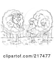 Royalty Free RF Clipart Illustration Of A Coloring Page Outline Of A Man Giving A Bundle To A Boy