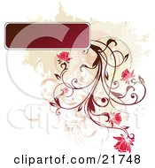 Clipart Picture Illustration Of A Red Plant Flowering From A Blank Text Box Over A Tan And White Background