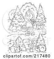 Royalty Free RF Clipart Illustration Of A Coloring Page Outline Of A Girl Walking Down A Path With Wild Creatures