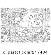 Royalty Free RF Clipart Illustration Of A Coloring Page Outline Of Rain Crashing Knocking Leaves Off Of Trees by Alex Bannykh