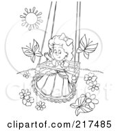 Royalty Free RF Clipart Illustration Of A Coloring Page Outline Of A Girl Playing On A Swing With Butterflies by Alex Bannykh