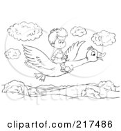 Coloring Page Outline Of A Boy Flying On A Goose