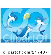 Royalty Free RF Clipart Illustration Of A Trio Of Dolphins Jumping And Playing With A Beach Ball