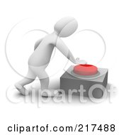 Royalty Free RF Clipart Illustration Of A 3d Blanco Man Pushing A Red Button by Jiri Moucka