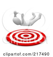 Royalty Free RF Clipart Illustration Of A 3d Blanco Man Falling Into A Bullseye
