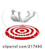 Royalty Free RF Clipart Illustration Of A 3d Blanco Man Falling Into A Bullseye