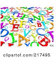 Royalty Free RF Clipart Illustration Of A Background Of Colorful 3d Letters On White