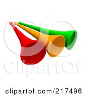 Royalty Free RF Clipart Illustration Of Three 3d Red Orange And Green Megaphone Trumpets