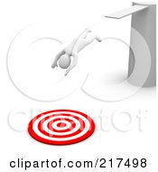 Royalty Free RF Clipart Illustration Of A 3d Blanco Man Diving Into A Bullseye From A Board by Jiri Moucka