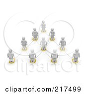 Royalty Free RF Clipart Illustration Of A 3d White Leader On Top Of A Team Hierarchy