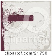 Clipart Picture Illustration Of A Worn Red Text Box With Circles Flowers And Vines Over A Pale Blue Background