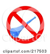 Royalty Free RF Clipart Illustration Of A 3d Blue Megaphone Trumpet In A Restricted Symbol