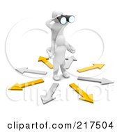 Royalty Free RF Clipart Illustration Of A 3d Blanco Man On Another Mans Shoulders Using Binoculars And Surrounded By Arrows