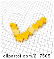 Royalty Free RF Clipart Illustration Of A 3d Orange Check Mark Popping Out Of A Grid