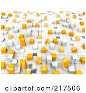 Royalty Free RF Clipart Illustration Of A 3d Background Of Bars On A Grid by Jiri Moucka