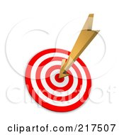 Royalty Free RF Clipart Illustration Of A 3d Arrow Sticking In A Bullseye by Jiri Moucka
