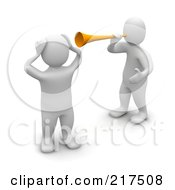 Royalty Free RF Clipart Illustration Of A 3d Blanco Man Annoying Another With A Megaphone