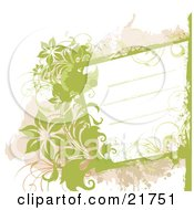 Clipart Picture Illustration Of A White Text Box With Lines Bordered With Green And Tan Splatters Vines And Flowers Over A White Background