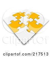 Royalty Free RF Clipart Illustration Of A 3d Completed White And Orange Jigsaw Puzzle