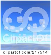 Royalty Free RF Clipart Illustration Of A Backgorund Of White 3d Blocks Floating Over The Earth by Jiri Moucka