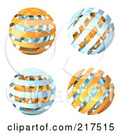Royalty Free RF Clipart Illustration Of A Digital Collage Of Blue And Orange 3d Orbs