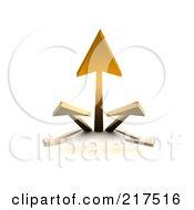 3d Group Of Orange Arrows Shooting Upwards