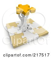 3d Blanco Man In The Center Of A Puzzle, Holding A Piece