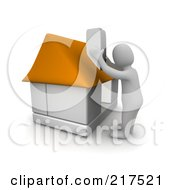 Royalty Free RF Clipart Illustration Of A 3d Blanco Man Assembling A House