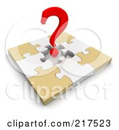 Royalty Free RF Clipart Illustration Of A 3d Red Question Mark Over An Incomplete Puzzle by Jiri Moucka