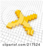 3d Orange X Mark Popping Out Of A Grid by Jiri Moucka
