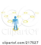 Royalty Free RF Clipart Illustration Of A 3d Blue Man Facing A Pyramidal Diagram On A White Background by Jiri Moucka
