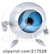 3d Blue Eyeball Character Looking Up And Pointing