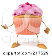 Royalty Free RF Clipart Illustration Of A 3d Strawberry Frosted Cupcake Facing Front And Gesturing by Julos