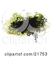 Clipart Picture Illustration Of A Grunge Black Text Box With Black And Green Flowers Circles And Vines