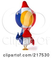 Royalty Free RF Clipart Illustration Of A 3d French Chicken Facing Front And Holding A Thumb Up by Julos