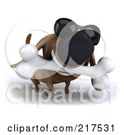 Royalty Free RF Clipart Illustration Of A 3d Chubby Dachshund Dog Wearing Shades And Carrying A Bone