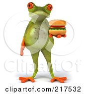 Royalty Free RF Clipart Illustration Of A 3d Fat Springer Frog Facing Front And Holding A Hamburger by Julos