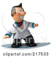 Royalty Free RF Clipart Illustration Of A 3d Toon Guy Doctor Surfing 1