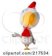 Royalty Free RF Clipart Illustration Of A 3d White Chicken Facing Front And Gesturing With One Hand by Julos