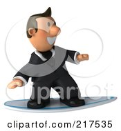 Royalty Free RF Clipart Illustration Of A 3d Business Toon Guy Surfing 1 by Julos