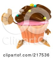 Royalty Free RF Clipart Illustration Of A 3d Chocolate Frosted Cupcake Holding A Thumbs Up by Julos