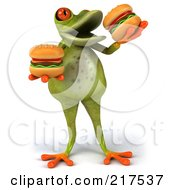 3d Fat Springer Frog Facing Front And Eating Hamburgers