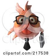 Royalty Free RF Clipart Illustration Of A 3d Pink Business Fish Facing Front by Julos