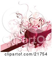 Clipart Picture Illustration Of A Red Blank Line For Text Space With Red And Pink Circles And Vines Over A White Background